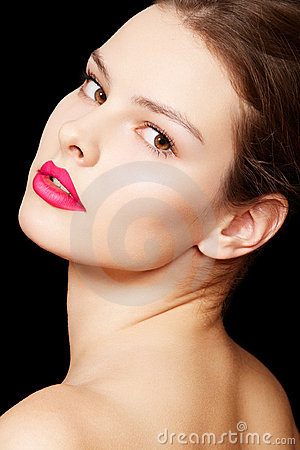 Fashion woman model with bright matte lips make-up
