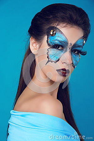 Free Fashion Woman Portrait. Butterfly Makeup,  Face Art Make Up Stock Image - 29420731