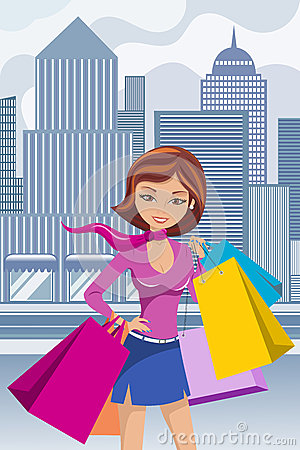 Free Fashion Woman Shopping Bag Bags Downtown Stock Photography - 45357392