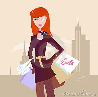 Fashion woman with shopping bags in town