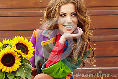 Fashion woman with sunflower