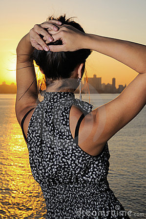 Fashion woman at sunset