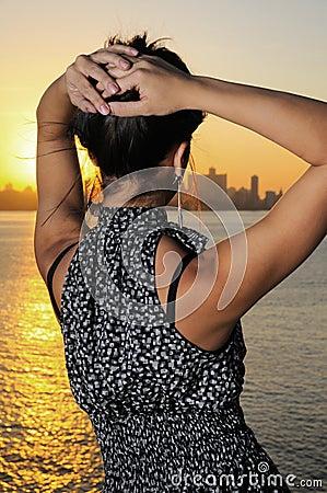 Fashion woman at sunset