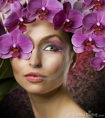 Free Fashion Woman With Orchids Stock Photos - 19114103