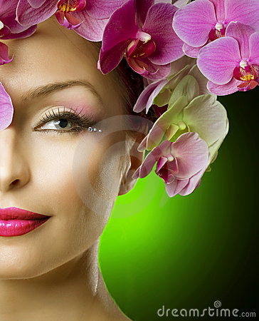 Free Fashion Woman With Orchids Hair Stock Photo - 19093300