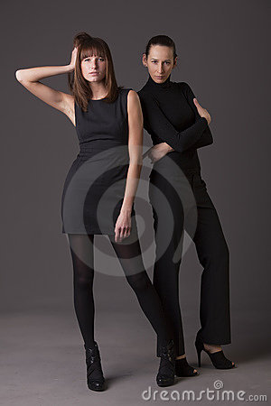 Fashion women in black