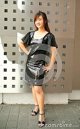 Fashion Young Asian Girl Posing Outdoor