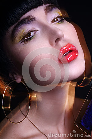 Fashion young brunette model photo editorial, model posing, mixed lightning, long speed