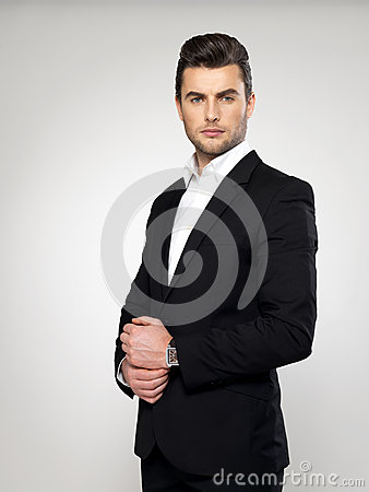 Free Fashion Young Businessman In Black Suit Royalty Free Stock Image - 29258036
