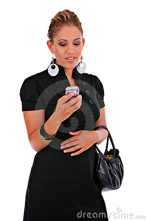 Fashion Young Female Reading Text Message