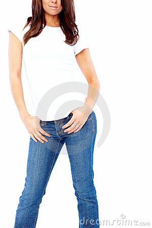 Fashion - Young woman in jeans posing
