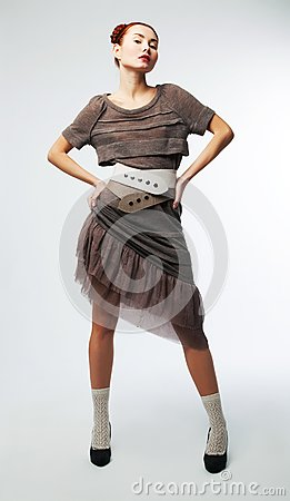 Fashionable asian girl in stylish retro dress