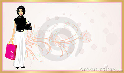 Fashionable Beautiful Woman With Handbag. Card Stock Images - Image: 12746364