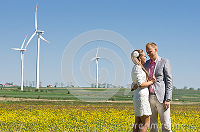 Fashionable couple in field