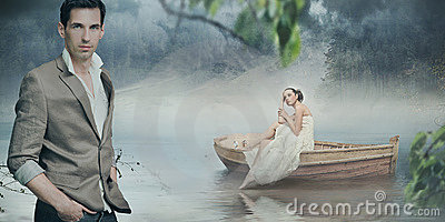 Fashionable couple posing over beautiful romantic