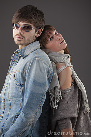 Fashionable couple in studio