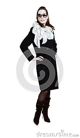 Fashionable girl in an autumn coat