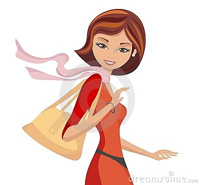 Fashionable Girl with a Handbag Walking