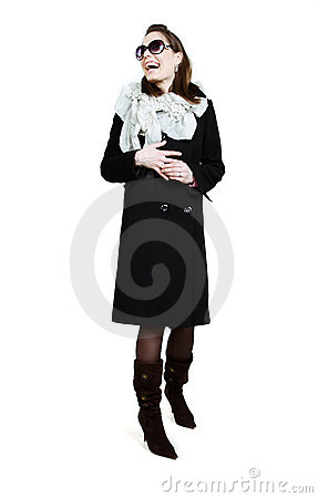 Free Fashionable Girl In An Autumn Coat Royalty Free Stock Photography - 14649057