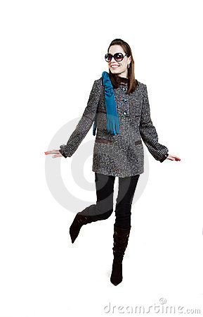Free Fashionable Girl In An Autumn Coat Royalty Free Stock Photo - 14661395