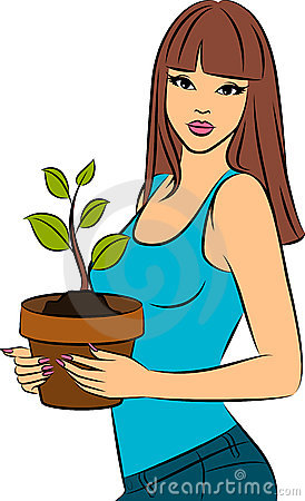 fashionable girl with a plant in a pot