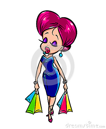 Fashionable girl  shopping  cartoon illustration
