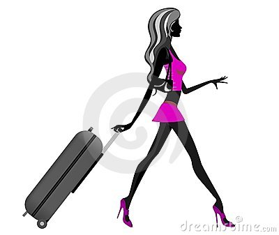 Fashionable Girl Silhouette Pulling Trolley