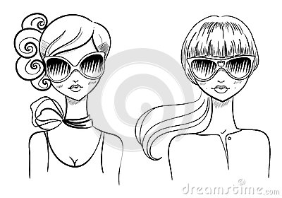 Fashionable girls. Drawn by hand