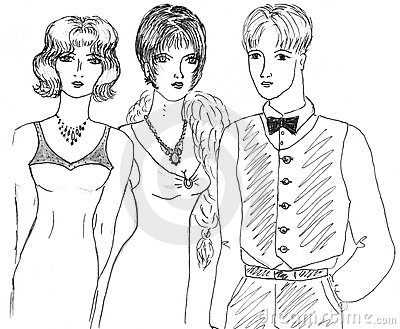 Fashionable girls and man, sketch