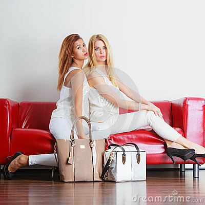 Free Fashionable Girls With Bags Handbags On Red Couch Royalty Free Stock Images - 65689469