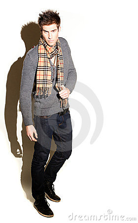 Fashionable Man In Scarf