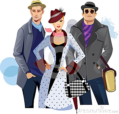 Fashionable men and woman in coat