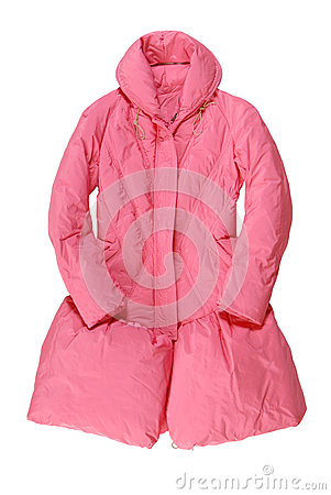 Fashionable pink padded coat