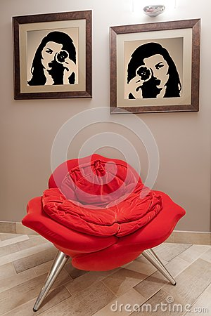 Free Fashionable Red Armchair Royalty Free Stock Photos - 59955388