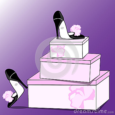 Fashionable shoes and boxes
