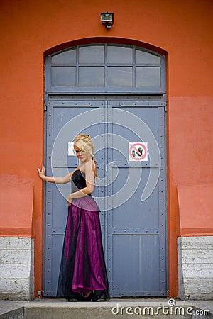 Fashionable woman in doorway