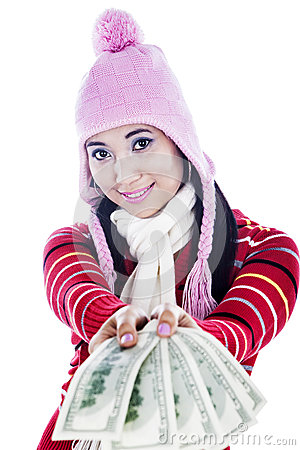 Fashionable woman with money
