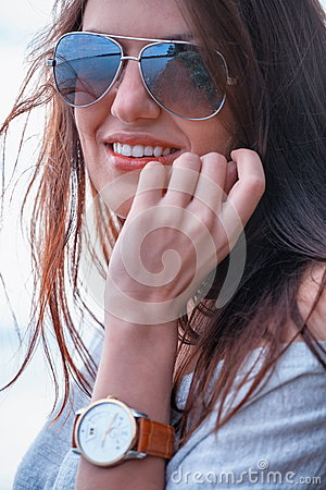 Fashionable woman in shades