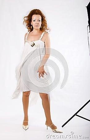 Fashionable woman in studio