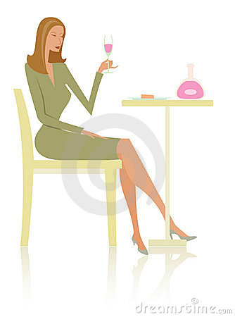 Fashionable woman and wine