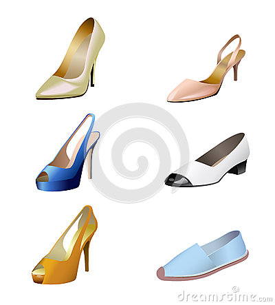 Fashionable women s shoes are on white background.