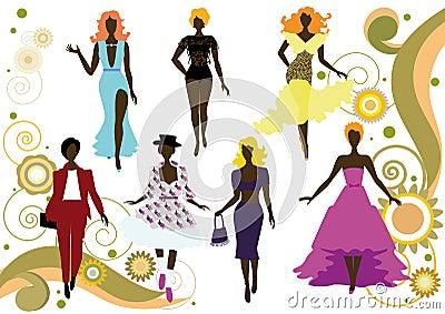 Fashionable women s silhouettes