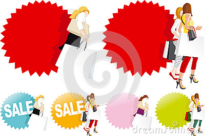 Fashionable women with shopping bags