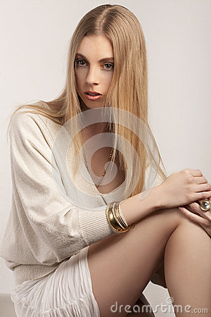 Fashionable young blond woman
