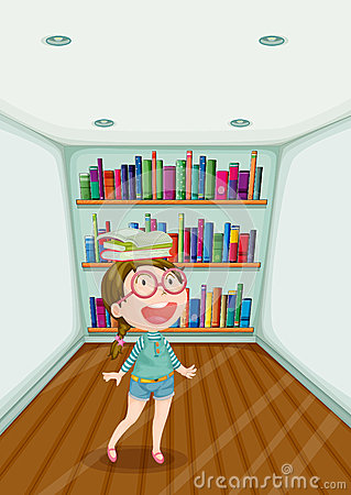 A fashionable young girl inside a room full of books