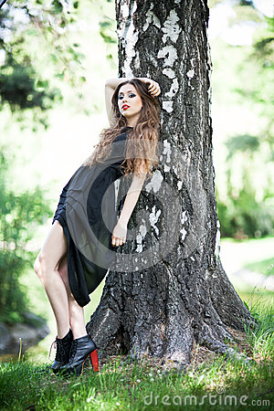 Fashionable young woman outdoors