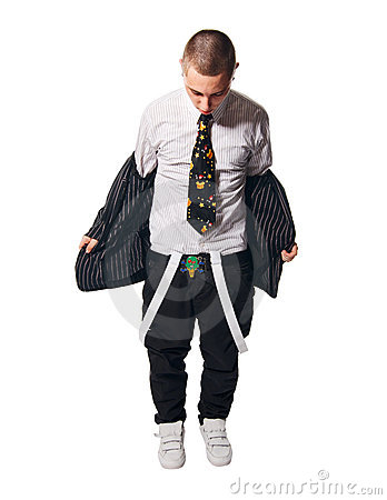 Fashionate hip-hop young man on white