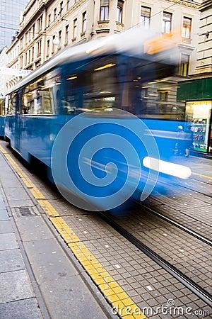 Fast blue tramway