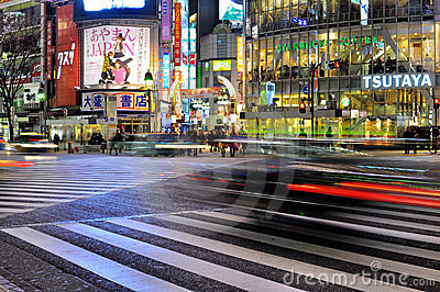 Fast car in the street of shibuya , tokyo , japan Editorial Photography