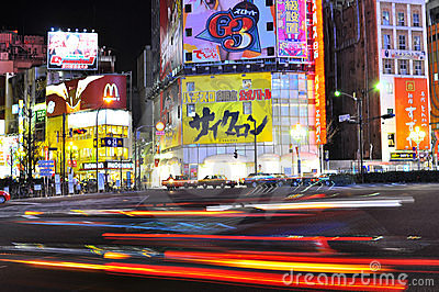 Fast car in the street of shinjuku , tokyo , japan Editorial Stock Image